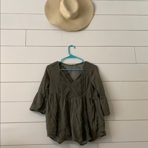 Hollister Olive Green Babydoll Shirt Size Small